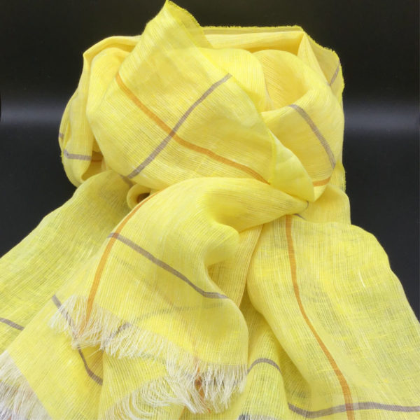 100% European yellow linen shawl. Weightless and fast drying. Generous size. Perfect vacation piece. Day to evening-nordicheritage.is