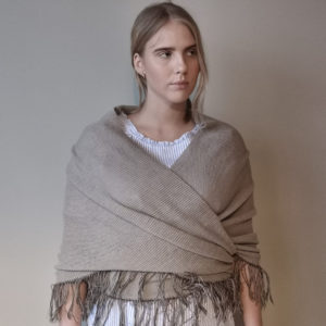 100% lightweight triangle wool shawl in perfect beige